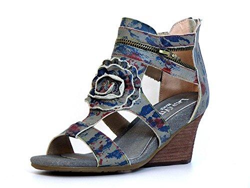 Laura Vita Damen Sandaletten beige-kombi (grau) BENNY 06 Beige-Kombi