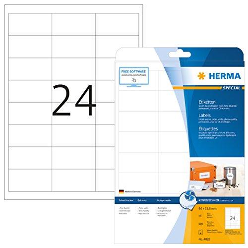 Herma 4820 Tintenstrahldrucker Etiketten Foto-Qualität (66 x 33,8 mm, DIN A4 Papier) weiß, 600...