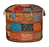 Indian Vintage Ottoman Embellished With Embroidery & Patchwork Foot Stool Floor Cushion, 46 X 33 Cm