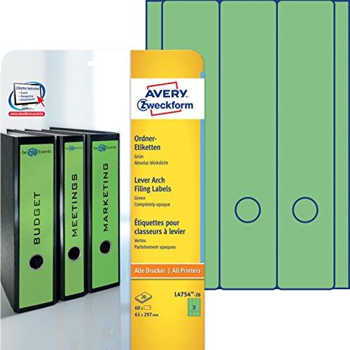 Avery Zweckform L4754-20 Ordner-Etiketten (A4, Rückenschilder, blickdicht, 60 Stück, 61 x 297 mm) 20 Blatt grün