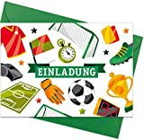 """8er Set (inkl. Umschläge): Einladungskarten """"Fussball"""" für den Kindergeburtstag oder anderen Anlass – hochwertige Geburtstagseinladungen für Kinder, Jungen, Fussball-Fans"""