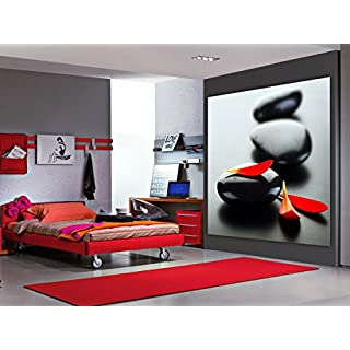 AG DESIGN - Photo Wall Mural - Non woven - Petals on The Rocks - Giant Wall Poster 2 Parts - Ftnxxl 2504, Multi-Colour, 180 x 202 cm/71 x 80-Inch