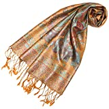 LORENZO CANA - Luxus Seidenschal Damen Schal 100% Seide jacquard gewebt harmonische Farben mit Fransen 35 x 160 cm Paisley Muster Seidentuch 78247
