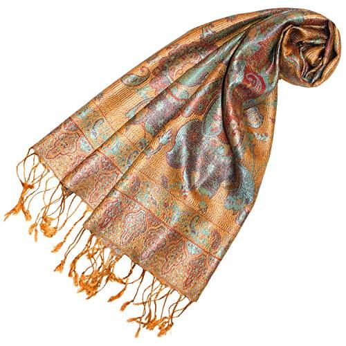 Lorenzo Cana - Luxus Seidenschal Damen Schal 100% Seide jacquard gewebt harmonische Farben mit Fransen 35 cm x 160 cm Paisley Muster Gelb Beige Seidentuch 78247 -