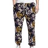 KINDOYO Pantalons d'impression de pantalons de Bohême imprimés floraux pour hommes Pantalons de survêtement occasionnels en vrac de jogging en lin (M-2XL)