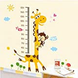 #9: Decals Design 'Kids Giraffe Height Chart' Wall Sticker (PVC Vinyl, 50 cm x 70 cm),Multicolour