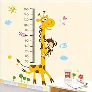Decals Design StickersKart Wall Stickers Kids Giraffe Height Chart Removable Large Vinyl (Multi-Colour)