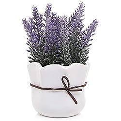 Artificielle Lavande W/blanc Pot en céramique/décoratifs simili Fleur Pot de fleurs, 17,8cm