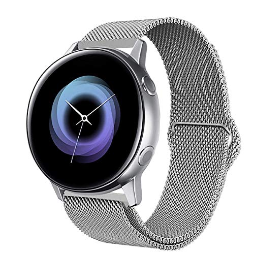 SPGUARD kompatible mit Samsung Galaxy Watch Active Armband/Gear Sport Armband, 20mm Magnetic Edelstahl Ersatzarmband Galaxy Watch Active zubehör für Samsung Galaxy Watch Active 40mm-Silber Active Sport Armband
