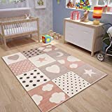 VIMODA Kinderteppich Teppich Rosa Kinderzimmer Babyteppich mit Herz Stern Mond, Maße:160x230 cm