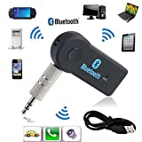 #8: Mystique Bluetooth Receiver / Car Kit, Portable Wireless Audio Adapter 3.5mm Aux Stereo Output (Bluetooth 4.0, A2DP, Built-in Microphone) for Home Audio Music Streaming Sound System by MYSTIQUE MALL