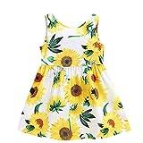 MädchenKleid Babykleidung, YanHoo Kleinkind Baby Kinder Mädchen Ärmellos Sonnenblumen Rock Prinzessin Kleider Kleidung rückenfreies kinderloses Schnürkleid mit Sonnenblumenmuster Princess Dress