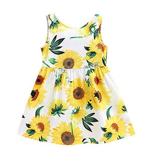 YWLINK Kleinkind Baby RüCkenfrei Enge Taille Sonnenblumen Rock Kinder MäDchen ÄRmellos Prinzessin Kleider(Weiß,3-4 ()