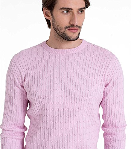 Wool Overs Pull torsadé à col rond homme en cachemire et coton Caribbean Pink