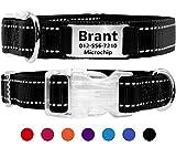 Taglory Personalisiertes Hundehalsband mit Namensschild/Benutzerdefinierte gravierte Pet-ID-Tags ohne Lärm/für Small Medium Große Hunde/Reflektierend/Schwarz