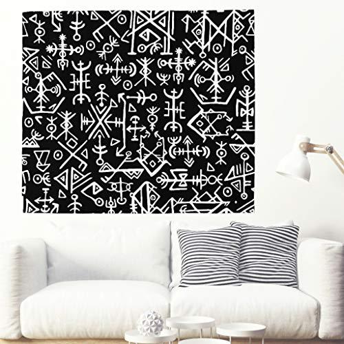 Tapiz de pared con diseño étnico celta, estilo islandés, estilo vikingo, color blanco y negro, estilo étnico 200x150cm blanco