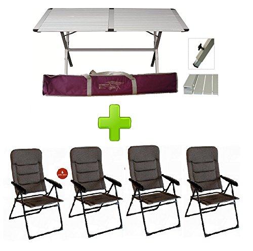 Tavolo tapparella genius 150x80 cm in alluminio + 4 poltrone onyx 6 posizioni richiudibile in alluminio verniciato - tessuto imbottito - ideale per veranda camper e campeggio
