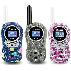 QNIGLO Q168Plus Walkie Talkie Niños Recargables,8 Canales Radio Bidireccional 3 Millas de Largo Alcance PMR,Equipo de Espía,Mejores Juguetes Regalos,con Baterías de Litio(Q168Plus_3Pack)