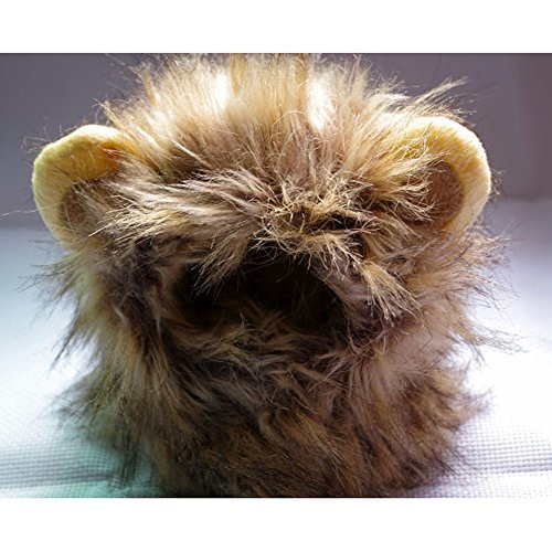 Lifelike Lion Mane Pet Cat Hat Wig Costume Cosplay Stuffed Plush with Ears by ()