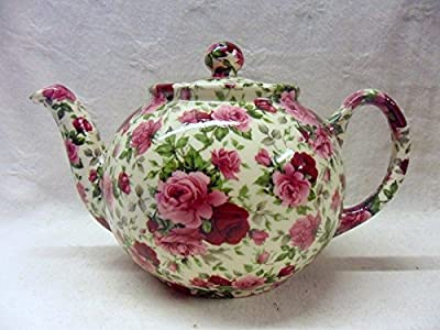 Théière 2 tasses en design Summertime Chintz Rose Par Heron Cross Pottery.