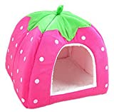 Cdet 1X Cute Strawberry Foldable Fleece Pet Puppy Kitten Cave Nest Bed Cushion Cat Dog Warm Basket House Bag Plush Nest Pad Mat Puppy Pad Roof Pink