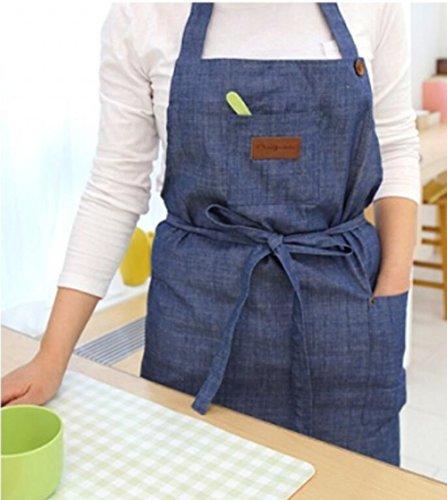 verstellbar Hals Typ Denim Smock Chef Schürze Zwei Taschen hinten Bandage Freizeit Lätzchen Küche Garten tragen blau - Denim Smock