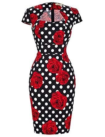 GRACE KARIN etuikleid Knielang bleistiftkleid Pencil Kleid 50s Vintage Retro Kleid S CL7597-11