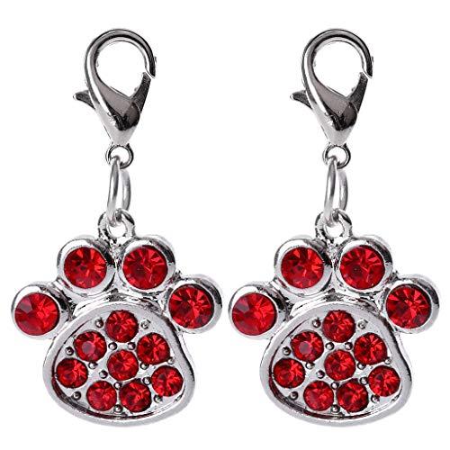 Junlinto, 2 Stück Strass Pfote Kragen Anhänger, Welpen Kragen Halskette für Tasche oder Telefon rot 3,8 cm