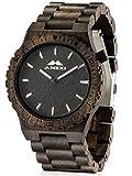 AMEXI relojes hechos a mano masculina en la madera de sándalo con negro