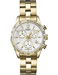 Timex Women's T2P058 Quartz Watch with Silver Dial Chronograph Display and Gold Stainless Steel Bracelet