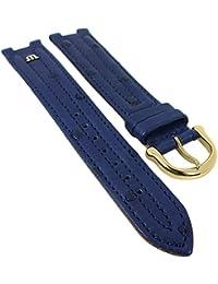 Maurice Lacroix für Calypso/Scala | Ersatzband Uhrenarmband Straußenleder blau matt 30034, Stegbreite:19mm, Schließe:Golden