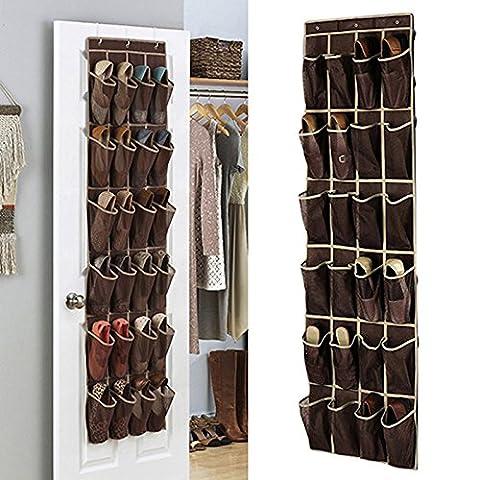 24poches sur le rangement chaussures de porte, à suspendre Organiseur de chaussures Rack support mural pour armoire de stockage de