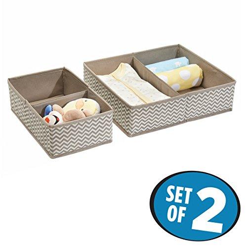 mDesign Baby Organizer im 2er-Set – große Aufbewahrungsbox mit vier Fächern für Windeln, Feuchttücher etc. – ideal zur Spielzeug Aufbewahrung – taupe/natur