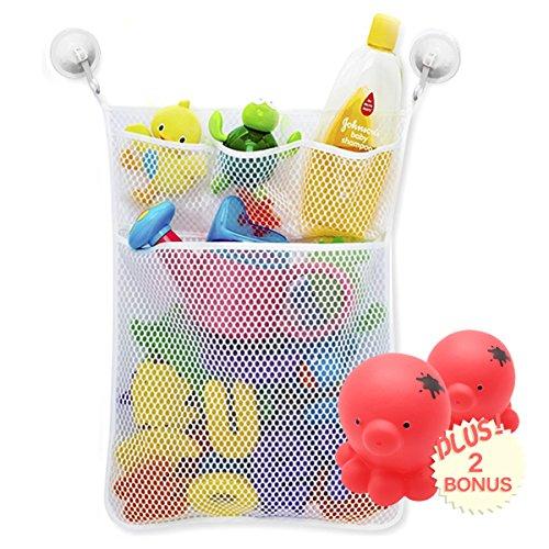Spielzeug Weiß Tasche Organizers Badezimmer Lagerung für Baby +2 Wasserspray Spielzeug + 2 Vakuum Saugnäpfe (Schrank Aufbewahrung Kleiderschrank Veranstalter)