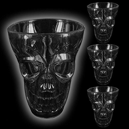 Wodka Whiskey Schnapsglas Plastik Scary Spooky Creepy Horror Gothic Party 3D Design Deko Neuheit Trick or Treat, plastik, schwarz, 1 Packung ()