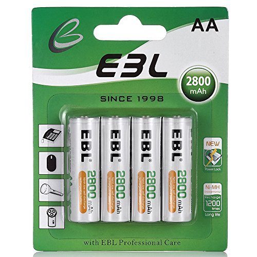 EBL AA Rechargeable Batteries 2800mAh New Retail Package