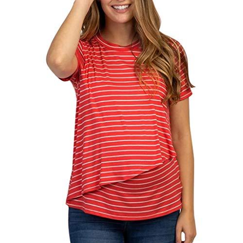 PRETTYEST Nursing Top Damen Schwanger T-Shirt Krankenpflege Baby Mutterschafts gestreifte Blusen Kleidung Kleidung Bluse für Mutterschaft T-Shirt Umstandsmode (Krankenpflege Gestreifte Kostüme)