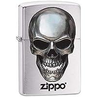 Zippo Metal Skull Mechero de Gasolina, latón, Acero, 1 x 6 x 6 cm