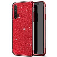 Robinsoni Case Compatible with Huawei Honor 20 Pro Phone Cover Flexible Huawei Honor 20 Pro Phone Case Silicone TPU Case Soft Shock-Absorption Cover Brillante Glitter Cover Ultra Thin Cover Red