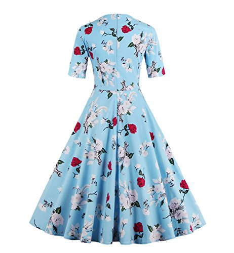 Dissa M131618D Robe de bal Vintage pin-up 50's Rockabilly robe de soirée cocktail,S-XXXXL Bleu