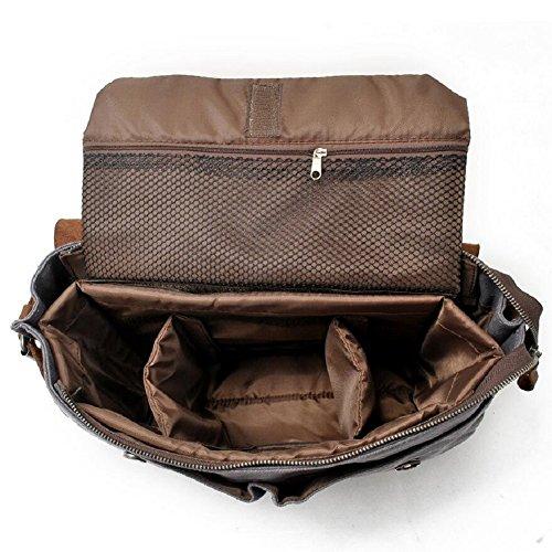 LF&F Hochwertiges Segeltuch / Leder BeiläUfiger Schulterbeutel SLR Kameratasche Wandernde Fototasche Handtasche Kurierbeutel Laptoptasche Wochenend ReisegepäCk Beutel A