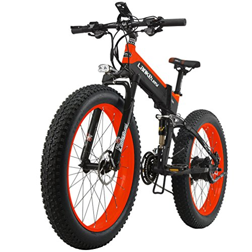 """Lankeleisi – Bicicleta eléctrica de montaña plegable – Ruedas de 26"""" x 4,0 de ancho – Motor de 1000 W,..."""
