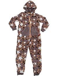Pijama de una pieza / mono de polar con estampado de estrellas con capucha para niños