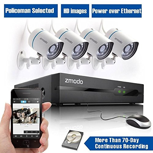 Preisvergleich Produktbild Saver Zmodo All In One 4CH 720P HD POE Home Security Camera Kits mit 1 TB WD Festplatten