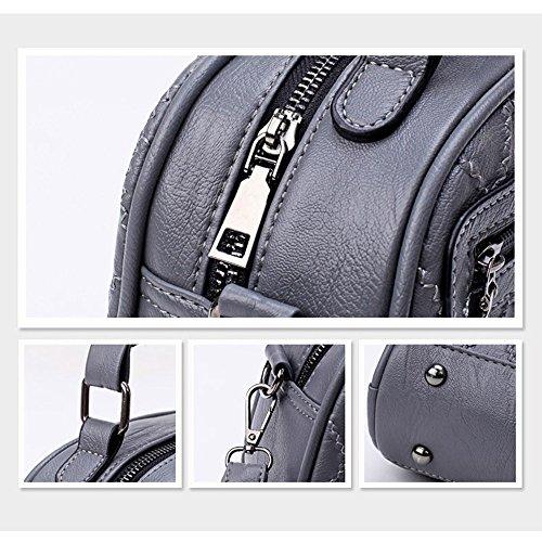 Runde nette Damen Umhängetaschen Messenger Bags Fashion Hand Taschen Frauen PU Leder tragbare Schultertasche Plaid kleine Tasche mit einer Kugel Handtaschen, Grau Grau