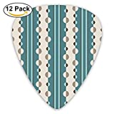 Circles And Stripes Geometric In Teal And Cream Fa Guitar Picks For Electric Guitar 12 Pack
