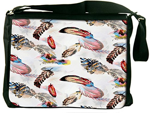 Snoogg Colorful Feather Padded Compartment Carrying Case Sleeve Laptop Notebook Shoulder Messenger Bag For All 15 - 15.6