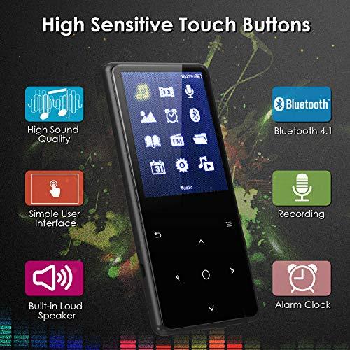 Reproductor de MP3, Mbuynow 16GB Metal Walkman Sport Reproductor de Música MP3 Bluetooth 4.0 con Botón Táctil, Pantalla TFT 2, 4 Pulgadas, hasta Tarjeta SD 128GB(Tarjeta no incluida)