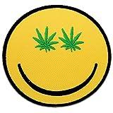 Weed sonriente Face Alta Pro Legalización de la Marihuana divertida Hippie Patch '7.5 x 7.5 cm' - Parche Parches Termoadhesivos Parche Bordado Parches