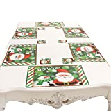 Souarts Tisch Matte Set Weihnachts Stil 6X Esstisch Matte und 6X Tasse Matte für Küche Bankett Party Pads Weihnachtsmann Grün